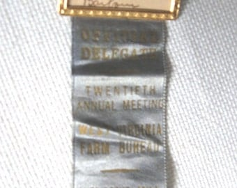 1938 West Virginia Farm Bureau Official Delegate Ribbon - Jackson's Mill - Twentieth Annual Meeting