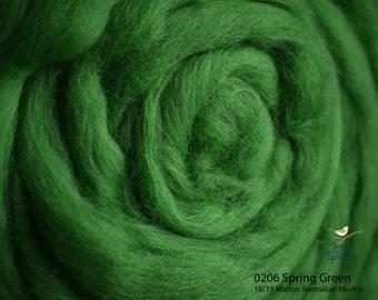 18 Micron Wool Roving - 50 gram bag (1.75 oz) - 206 Spring Green