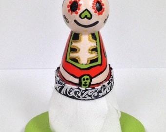 Sugar Skull Peg Doll