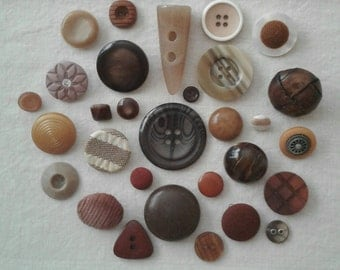 RESERVED for Phoenixsunfan - Vintage Brown/Beige Button Assortment - Set of 30 - A