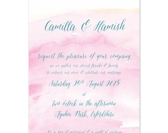 x 30 Blush pink ombre Marie Antoinette wedding invitations