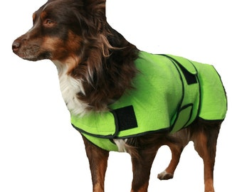 Dog Cool Coat with velcro front closure, custom made just for your dog with tummy cooler for extra cooling