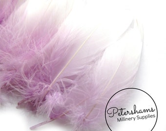 10 Dip-Dye Goose Feathers for Millinery and Hat Trimming - Lilac with White Tips