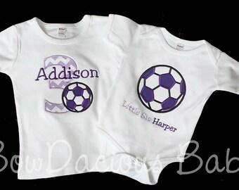 Soccer Birthday Shirt or Bodysuit and Sibling Shirt, Soccer Birthday Shirt, Birthday Sibling Set, Birthday Set, Little Sister Soccer, Custom
