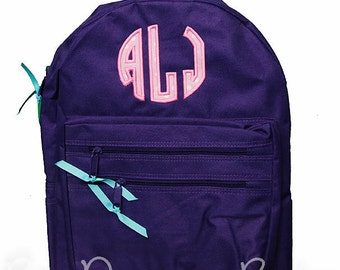 Monogrammed Initials Backpack, Personalized Solid Color School Girls Back Pack, Book Bag Kids, Childrens, Custom