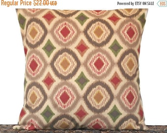 Christmas in July Sale Brown Ikat Pillow Cover Cushion Geometric Fall Autumn Red Kelly Green Mustard Tan Repurposed Decorative 18x18
