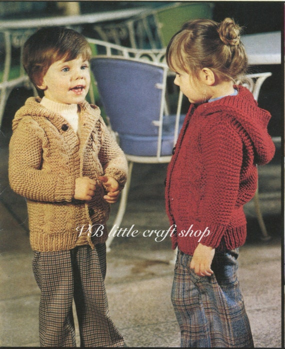 Knitting Pattern Child s Hooded Jacket : Childs hooded cabled jacket knitting pattern. Instant PDF
