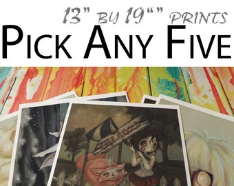 """Pick Any Five 13""""x19"""" POSTER lowbrow art prints by WhiteStag"""