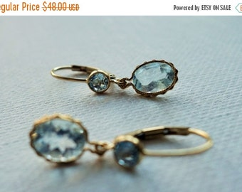 20% off, Simple gold and blue topaz earrings, delicate, fine jewelry, womens gift