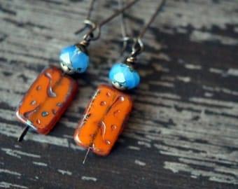 Unlisted - Bead Soup Jewelry - Orange Opal Earrings - Rustic Tablet Earrings - Boho Jewelry - Long Dangle Earrings