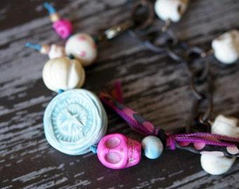 Unlisted - Skull Bracelet - Pastel Charm Bracelet - Ceramic Bracelet - Chain Bracelet - Boho Bracelet - Bead Soup Jewelry