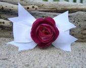 Girls Floral Hair Bow Dark Pink, Hair Accessories, Little Girl Bow, Pink Rose, White Grosgrain Ribbon Hair Bow