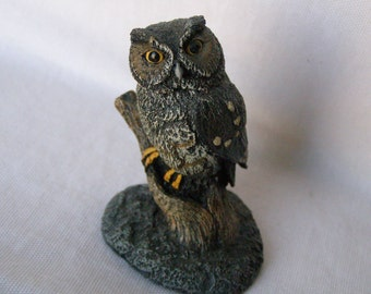 Aus Ben Screech Owl Bronze Wildlife Collection vintage figurine