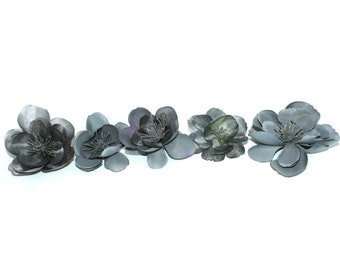 5 Lavender Gray Apple Blossoms - Artificial Flowers, Silk Blossoms