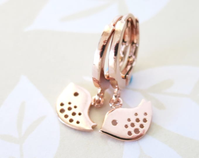 Rose Gold Mini love Bird Levered back Earrings - gifts for her, mother daugther jewelry baby sister earrings jewelry
