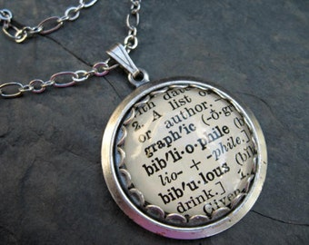 Word Pendant - Dictionary Necklace - Book Lover - Bibliophile