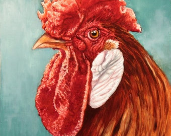rooster art, rooster painting, chicken art, chicken painting, farm art, farm animal, realism art, artwork for sale, oil paintings for sale