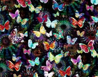 Hoffman - Crystalia - Digital Print Butterfly - Onyx Fabric by the yard N4240-213