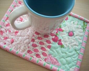 color me pink mug rug - FREE SHIPPING
