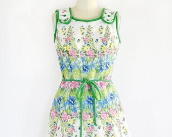 vintage 1960s dress • spring print dress • day 60s dress •  1960s day sun dress • large