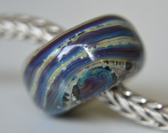 Silver Core Options - OOAK Silver Foil Handmade Lampwork Glass European Charm Bead - SRA - Fits All Bracelets