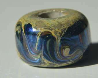 SALE - Silver Foil Handmade Lampwork Glass European Charm Bead - Self Representing Artist