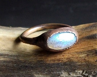 Labradorite Ring Raw Crystal Ring Copper Size 6.5 Stacking Ring Rough Stone Jewelry Midwest Alchemy