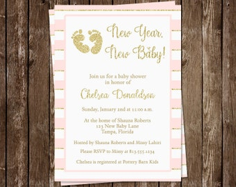 New Year Baby Shower Invitations, It's a Girl, Pink, Rose, Footprint, Gold, Glitter, Toes, World10 Printed Invites, FREE Shipping, Custom
