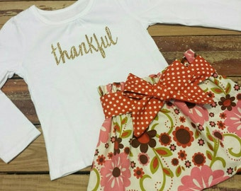 Thanksgiving Outfit- Thankful -Baby Toddler Girls Skirt Set- Gold Sparkly Shirt -Vintage Cream Floral High Waist Skirt with Sash- Sister Set