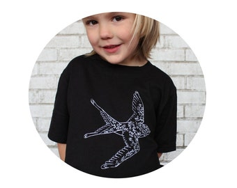 Youth Flying Swallow Tshirt, Bird, Children's Cottion Crewneck T Shirt, Black Graphic Tee, Kids Clothing, Black Graphic Tee, Hand Printed