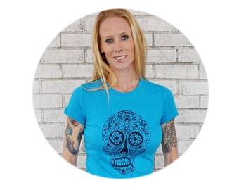 Women's Sugar Skull T Shirt, Day of the Dead, Turquoise Cotton Crewneck, TSHIRT, Graphic Tee, Dia De Los Muertos, Gift For Ladies folk art
