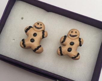 Fun pair of mens gingerbread man cufflinks
