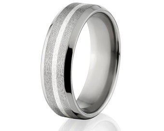 New 7mm Titanium Ring, Sterling Silver Inlay, Free Jewelry Sizing 4-17