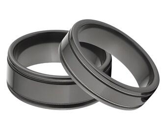 His and Her's Matching Ring Set, Black Zirconium Rings: BZ-6F2SG-mlgn BZ-BZ9F2SG-mlgn