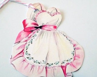 Pink Ruffled Apron - Gift Tags - Set of 3 - Retro Pink Apron - Pink Kitchen - Mid Century Tags - 1950's Pink Apron - Mother's Day