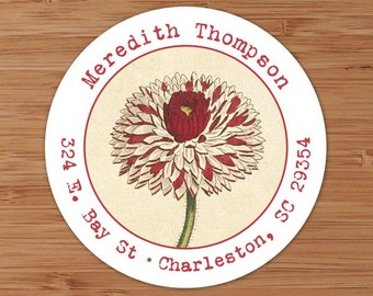Vintage Dahlia - Custom Address Labels or Stickers