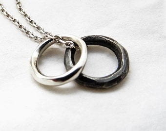 Recycled sterling silver / ecosilver necklace . Oxidised and polished.