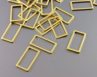 4 delicate rectangle 15mm gold charms for jewelry, geometric rectangles, squares 1011-MG-15