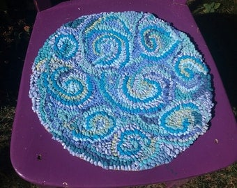 Handhooked seat pad, chair cushion,rag rug,sea colours, seat pad,chair pad,eco friendly