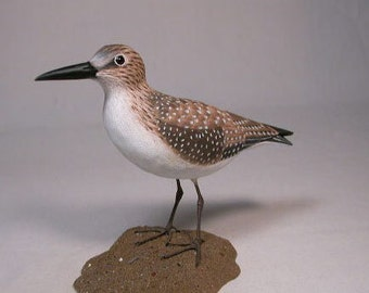 """8"""" Solitary Sandpiper Hand Carved Wooden Water Bird"""