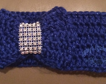 Crochet Blue Baby Bow Headwrap, headband, 0-6 mnth, baby girl, baby gift, bow, newborn, special occasion, holiday, crochet