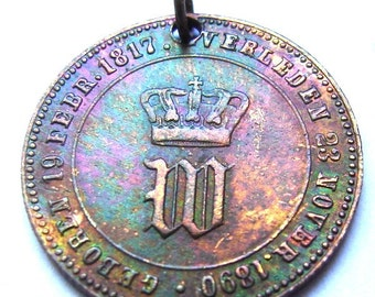 1890 KING WILLEM III of the Netherlands issued to commemorate the King Death medal Charm Medallion
