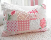 PINK PRINCESS Vintage Chenille And Minky Fabric Patchwork Quilt Style Pillow Sham