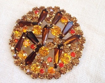 Juliana Pentagon Rhinestone Topaz Brooch Domed Circular