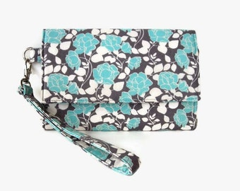 Blue Gray Phone Wristlet Wallet - Cushioned Trifold Wristlet Wallet - Smartphone Wristlet -  Phone Pouch -  iPhone Wallet - Phone Clutch
