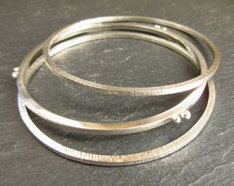 Sterling silver bangles with silver balls and hammered texture, stacking bangles, metalwork bangles, bright finish, silver bracelets, medium