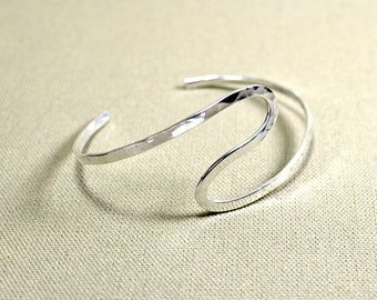 Forged handmade artistic sterling silver arm cuff - Solid 925 AC010