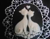 Gorgeous  Kittys in Love Cameo Brooch-- SALE