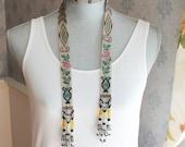 Vintage 1920s Multi Colored Woven Beaded Sautoir Tassel Necklace