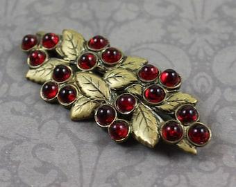 Vintage Golden Leaf and Red Glass Brooch